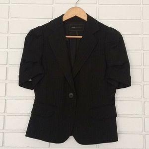 BCBGMaxAzria Black Short-Sleeve Pin-Stripe Blazer
